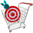 Shopping Cart Target and Arrow in Bulls-Eye - Stock Photo