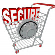 Secure - Safe Shopping Cart with Security - Stock Photo