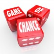 Game of Chance Three Red Dice Risk and Danger - Stockfoto