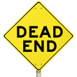 Dead End Yellow Warning Road Sign Closed No Exit - Stock Photo