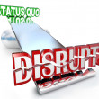 Disrupt Word Changes Status Quo New Business Model See-Saw — Foto de stock #21848365