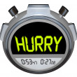 Stock Photo: Hurry Word Stopwatch Timer Speed Rush Competetion