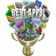Best Apps - Tile Icons in Golden Trophy - Stock Photo