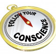 Follow Your Conscience Compass Right vs Wrong - Stock Photo