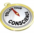Follow Your Conscience Compass Right vs Wrong — Stock Photo