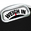 Stock Photo: Weigh In Words on Scale Weight Loss Diet