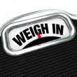 Weigh In Words on Scale Weight Loss Diet — Stock Photo
