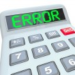 Royalty-Free Stock Photo: Error Word on Calculator Inaccurate Bad Data Glitch