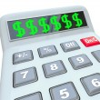 Dollar Signs on Calculator Adding Costs Expensive Budget — Stock Photo