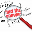 Find the Answer - Magnifying Glass — Stock Photo