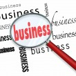 Business Word Magnifying Glass Learn Basics Start New Company — Stock Photo #21849069