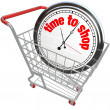 Time to Shop Clock in Shopping Cart Buying Browsing — Stock Photo