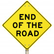 Stock Photo: End of the Road Yellow Warning Sign - Last Final Failure
