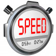 Speed Word on Stopwatch Timer Recording Race Result — Stock Photo