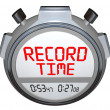 Record Time Stopwatch Displays Best Time Ever - Stock Photo