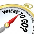 Where to Go Compass Directs to Successful Goal Path - Stock Photo