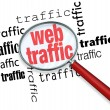 Royalty-Free Stock Photo: Finding Web Traffic - Analyzing with Magnifying Glass
