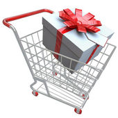 Present in Shopping Cart — Stock Photo