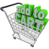 Add to Card Words Shopping Pushcart e-Commerce Buy Store — Stock Photo