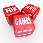 Fun and Games - Words on Three Red Dice — Stock Photo