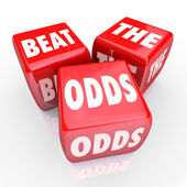 Beat the Odds - Three Red Dice — Stock Photo