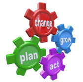 Self-Help Steps - Gears for Change, Plan, Act and Grow — Stock Photo