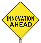 Yellow Warning Sign - Innovation Ahead - Future — Stock Photo