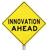 Yellow Warning Sign - Innovation Ahead - Future — Stock Photo
