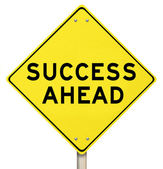 Yellow Road Sign - Success Ahead - Isolated — Stock Photo