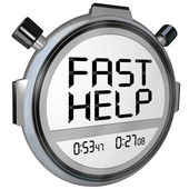 Fast Help Customer Support Stopwatch Timer Clock — Stock Photo