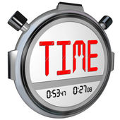 Time Word on Stopwatch Record Your Speed and Acceleration — Stock Photo