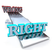 Right vs Wrong - See Saw Balancing Ethical Decisions — Stock Photo