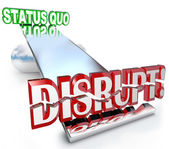 Disrupt Word Changes Status Quo New Business Model See-Saw — Zdjęcie stockowe
