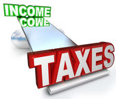 Income Taxes Scale Balance Figuring Refund Deductions — Stock Photo