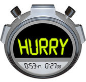 Hurry Word Stopwatch Timer Speed Rush Competetion — Stock Photo