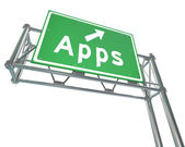Apps Word on Freeway Sign - Application Store — Stock Photo