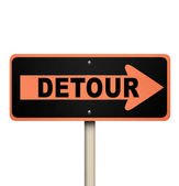 Detour Road Sign - Isolated — Stock Photo