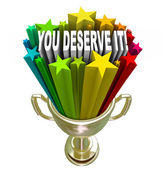 You Deserve It Gold Trophy Reward Recognition — 图库照片