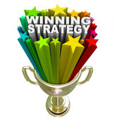 Winning Strategy Gold Trophy Words Winner Plan — Stock Photo