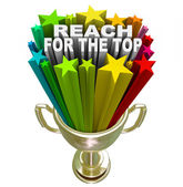 Reach for the Top Gold Trophy Motivation Competition — Stock Photo
