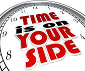 Time is On Your Side Words on Clock Saying — Stock Photo