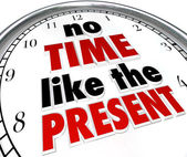 No Time Like the Present Clock Punctuality No Procrastination — Foto de Stock