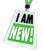 I Am New Badge Lanyard Introduction Meet Networking — Stock Photo