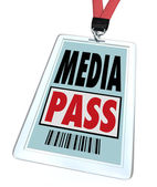 Media Pass Badge Lanyard - Reporter Access at Event or Interview — Stock Photo