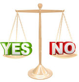 Yes Vs No Words on Scale Weighing Options to Answer — Stock Photo