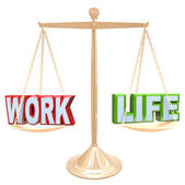 Work Vs Life Words on Scale Balancing Life Stress — Stock Photo