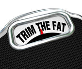 Trim the Fat Words on Scale Cut Costs Budget — Stock Photo