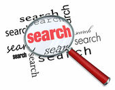 Search - Magnifying Glass on Words — Stock Photo