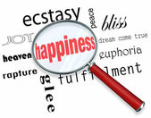 Finding Happiness - Magnifying Glass — Stock Photo