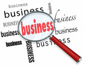 Business Word Magnifying Glass Learn Basics Start New Company — Stock Photo
